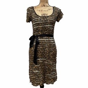 Betsy Johnson Leopard Ruffle Dress Small